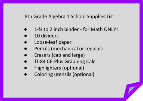 Algebra 1 School Supplies List