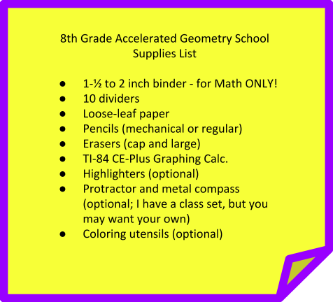 Geometry School Supplies List